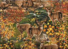 New Fall Deer in the Woods flannel fabric by the yard - $11.39