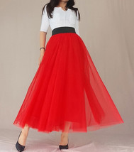 A Line RED Tulle Skirt with Pockets Women High Waist Tulle Skirt Red Party Skirt image 7