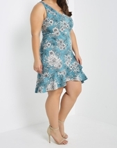 Plus Size Blue Dress, Blue Floral Dress, Plus Size Dress, Blue Print Dress