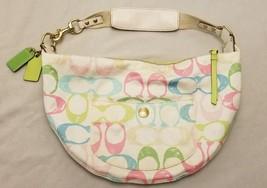 Authentic COACH Signature Logo Cloth Soho Handbag Half Moon Hobo Shoulde... - $21.33