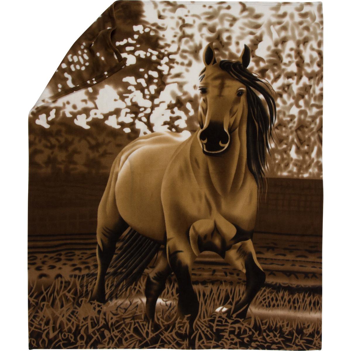 Western Buckskin Horse Fleece Throw Blanket - Gift Ready, Premium Upgrade - $46.95