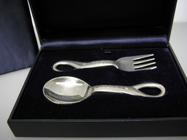 """Elsa Peretti Tiffany & Co.Baby Fork and Spoon Set Engraving """"Lucas"""" - $237.59"""