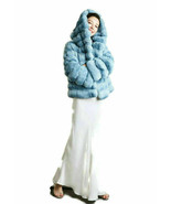 Blue Chinchilla Fur Coat With Hood Custom Orders Fur Maker European Premium - $4,158.00