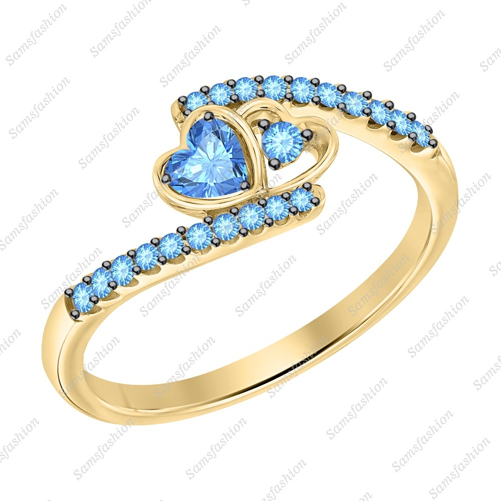 Primary image for Heart Cut Aquamarine 14k Yellow Gold 925 Silver Double Heart Anniverasry Ring