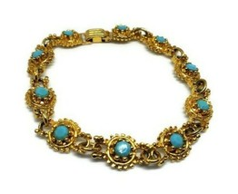 Vintage Ornate Gold Turquoise Rhinestone Link Bracelet - $25.00