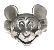 Vintage Mickey Mouse Disney Sterling Silver Ring Size 5 Children Cartoon Jewelry - $115.00