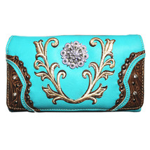 Texas West Rhinestone Concho Embroidered Wristlet Wallet in 5 Colors - $16.99