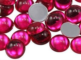 KraftGenius Allstarco 11mm Pink Fuchsia .MAR09 Flat Back Acrylic Round Cabochons - $5.24
