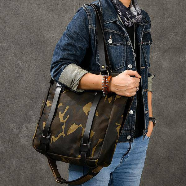 Sale, Canvas Men Tote Bag, Camouflage Shoulder Bag, Vintage Men Messenger Bag image 4