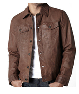 Brown vintage style leather jacket men leather jacket fashion leather jacket thumbtall