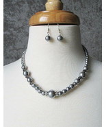 CLEARANCE 6mm - 12mm Gray Pearl w/ Crystal Bead Earrings & Necklace Set - $12.50