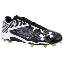 Under Armour Team Deception Low DT Baseball Cleats Black/White 13 NEW FREE SOCKS - $22.99