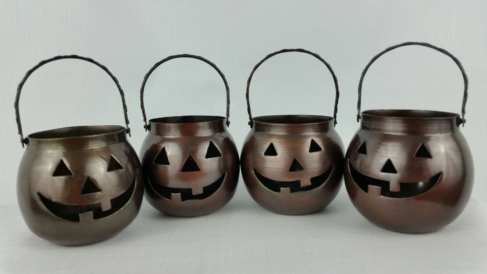 HOSLEY Halloween Candle Holder Metal Jack O Lantern Lot 4 USA Vintage Collectibl