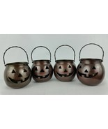 HOSLEY Halloween Candle Holder Metal Jack O Lantern Lot 4 USA Vintage Co... - £34.63 GBP
