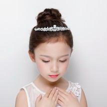 Flower Girls Wedding Tiara Crown AAA Cubic Zirconia Pear Cut Princess Co... - £19.11 GBP