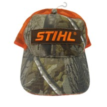 Stihl Realtree Camo Orange Mesh Trucker Hat Cap Big Logo Patch Adjustabl... - $24.74
