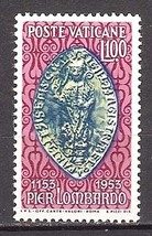 1953 Episcopal seal of Peter Lombard Vatican Stamp Catalog Number 173 MNH