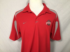 Ohio State Buckeyes Nike Team Adult Large Red Polo Shirt Fit Dry Authentic - $24.74