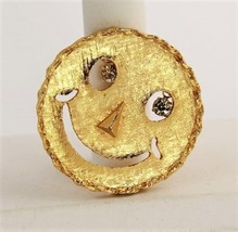 VINTAGE Jewelry FIGURAL SMILEY FACE PENDANT BROOCH RHINESTONE DANGLE EYES  - $15.00