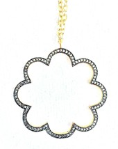 "Atelier Mon 16"" + 2"" Gold Plated Pave Set Cubic Zirconia Flower Pendant Necklace"