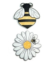 """Set of 2 - 10.6""""  Bee & Daisy Themed Stepping Stone / Wall Plaques Polystone image 2"""