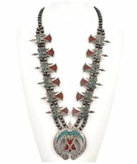 Vintage Pawn Turquoise Coral Chip PEYOTE BIRD SQUASH NECKLACE Tommy Sing... - $1,799.00