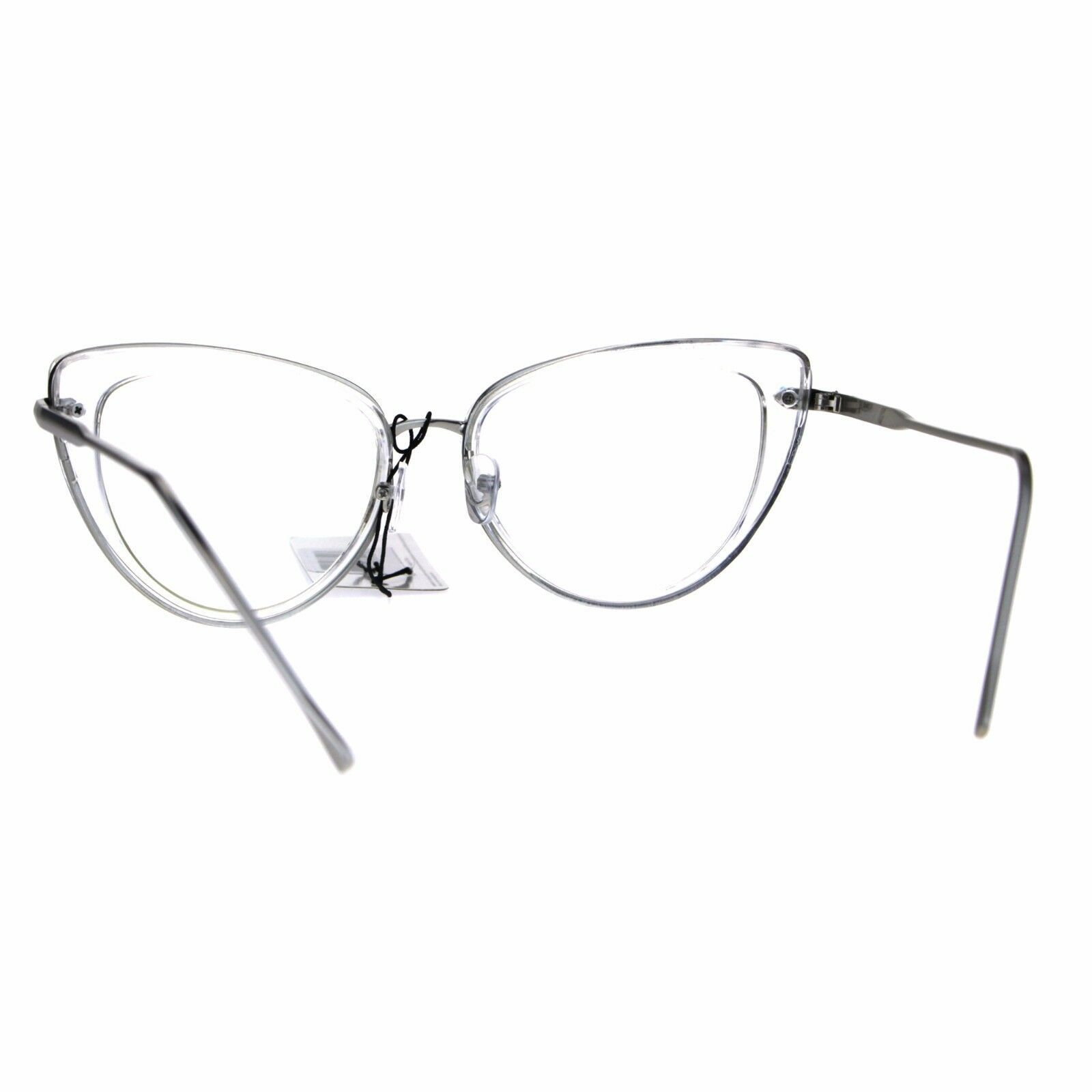 Womens Double Rim Goth Cat Eye Clear Lens Glasses Frame