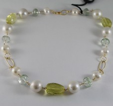 18K YELLOW GOLD NECKLACE BIG PEARLS CUSHION LEMON QUARTZ PRASIOLITE ITAL... - $759.05