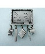 Vintage JJ Jonette Jewelry Pewter Blackboard Pin Brooch with dangling ch... - $12.00