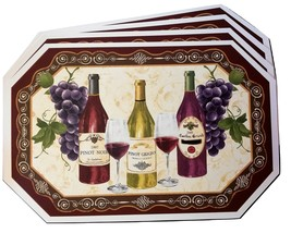 WINE PLACEMATS Set of 4 Vinyl Bar Place Mat Grapes Bottles Pinot Noir Gr... - $14.99