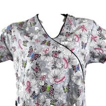 Beverly Hills Uniforms Flowers Butterflies Ribbons Gray Medium Scrub Top - $13.85