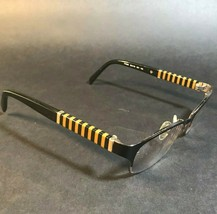 FENDI Black Yellow Striped Semi Rimless Rectangular Eyeglasses Frames F1... - $37.40