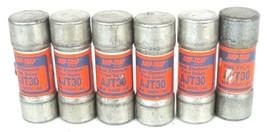 LOT OF 6 COOPER BUSSMANN FRS-350 AMP-TRAP FUSES FRS350, 30A, 600V AC