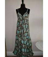 TRAMP Long Maxi Dress Floral Brown Turquoise Ruffle Layer Spaghetti Size... - $23.02
