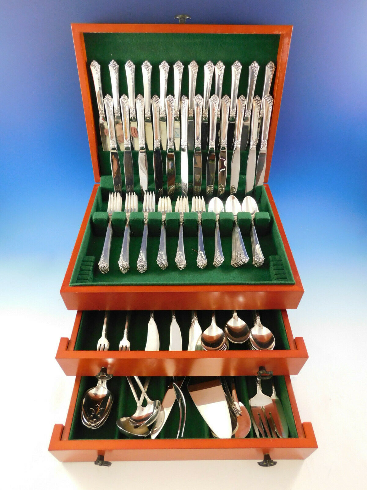 Primary image for Damask Rose by Oneida Sterling Silver Flatware Set for 24 Service 188 pieces