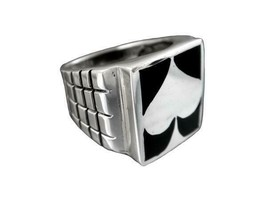 925 Sterling Silver Men's Spade Motif Card Casino Game Solid Thick Ring ... - $39.95