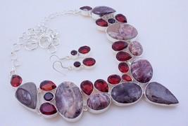 Garnet-Landscape Jasper Silver Overlay Handmade Jewelry Necklace 115 Gr.... - $34.00