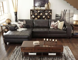 STANTON Modern Living Room Set Brown Faux Leather Couch Sofa Chaise Sectional