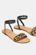 ZARA Womens Tan Leopard Print Calf Hair Black Ankle Strap Sandals Sz 6.5/37 - €35,99 EUR