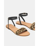 ZARA Womens Tan Leopard Print Calf Hair Black Ankle Strap Sandals Sz 6.5/37 - $38.93