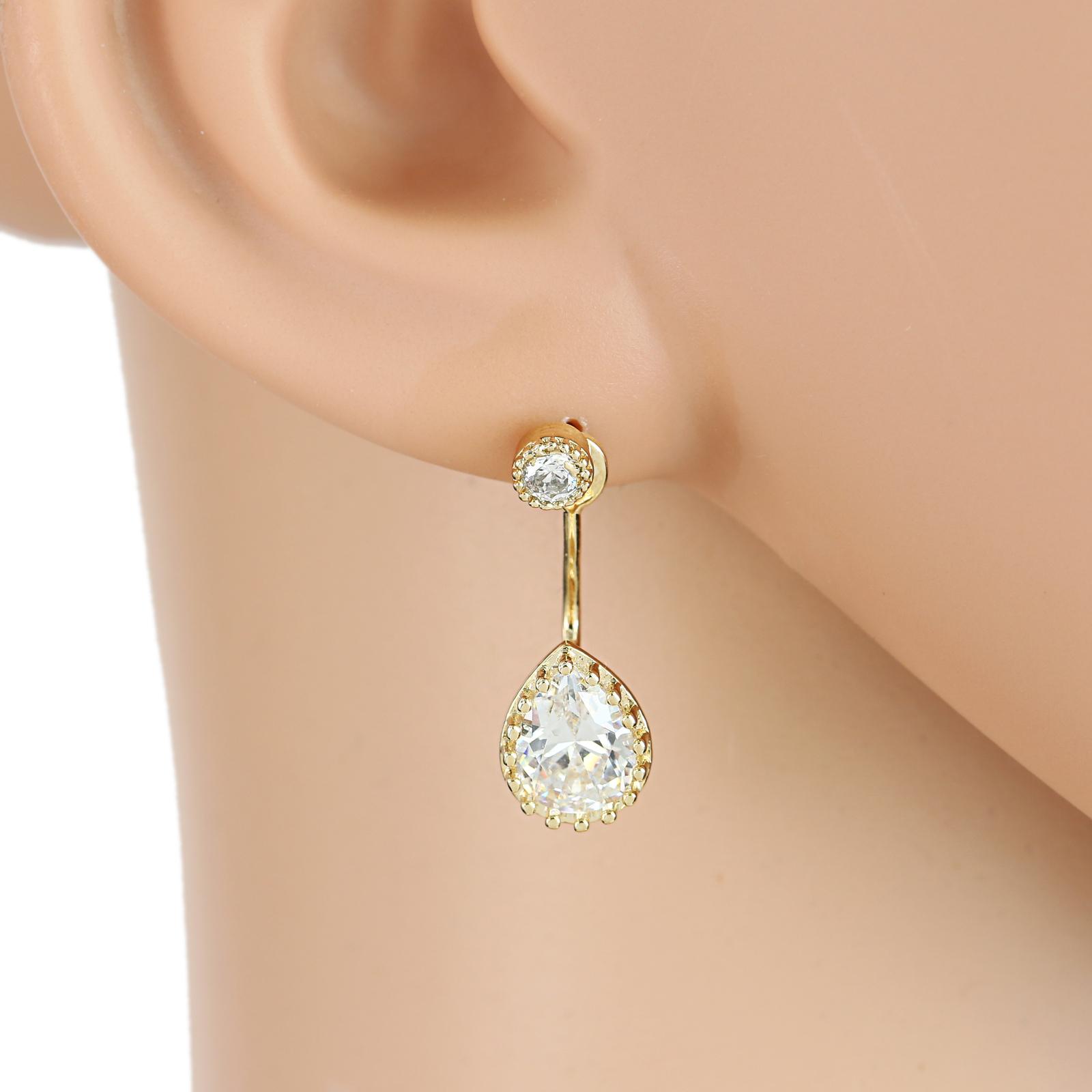 UE-Striking Gold Tone Drop Earrings With Dazzling Faux Pear Shape White Sapphire - $18.99