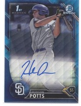 2016 Bowman Draft Chrome Autographs Blue Wave Refractor Hudson Potts /15... - $80.00