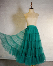 Women Emerald Green Sparkle Skirt Tiered Long Tulle Skirt Evening Maxi Skirt image 1