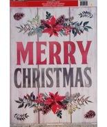 Vinyl Static Window Clings Merry Christmas on Woodgrain Pine Cones - $8.42