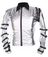 Mens Michael Jackson Bad Concert King Of Pop Belted Silver Satin Jacket - $47.50+