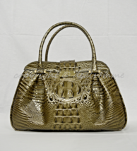 NWT Brahmin Laura Satchel/Shoulder Bag in Pewter Melbourne Croc Embossed... - $249.00