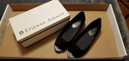 Women's Etienne Aigner E-JUNIPER Black Suede Peep Toe Shoes - Size 8.5M - $60.00