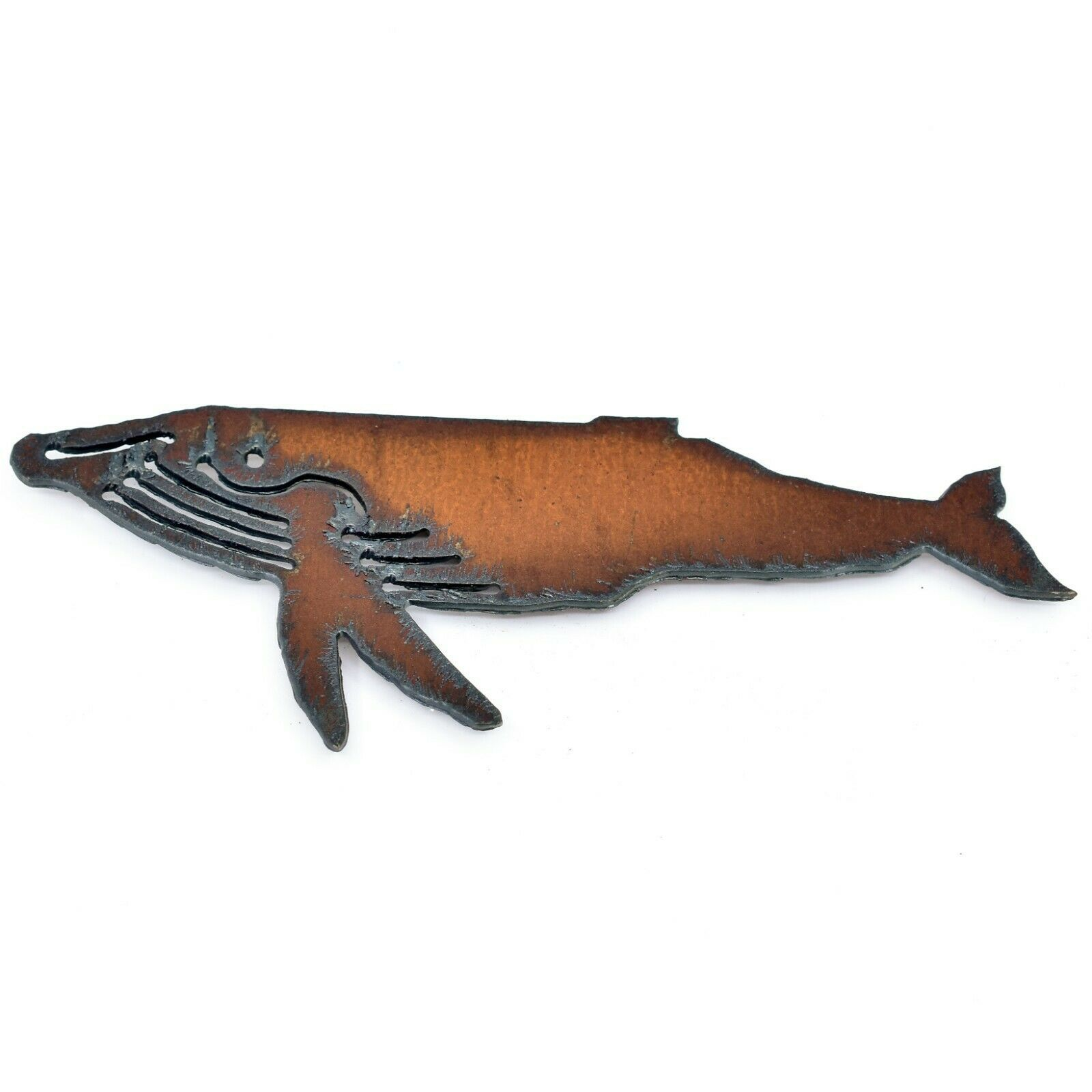 "Rustic Rusted Patina Iron Metal Cutout Humpback Whale 5"" Refrigerator Magnet"