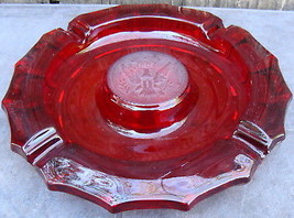 Vintage Ruby Red Fostoria Coin Glass Ashtray 1887 Bald Eagle Frosted - $24.00