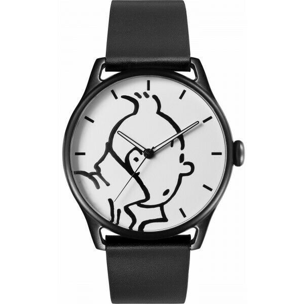 Tintin classic leather watch in action Large 82439 Official Moulinsart product